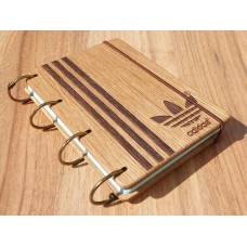"""Notepad A6 """" Adidas"""" made of natural wood on rings. Notebook. Album for drawing. A diary. Sketchbook"""