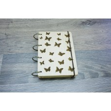 """Notepad A6 """"Butterflies"""" made of natural wood on rings. Notebook. Album for drawing. A diary. Sketchbook"""