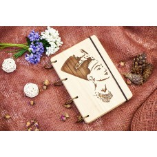 """Notepad A6 """"Cleopatra"""" made of natural wood on rings. Notebook. Album for drawing. A diary. Sketchbook"""