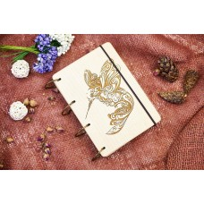 """Notepad A6 """"Colibri"""" made of natural wood on rings. Notebook. Album for drawing. A diary. Sketchbook"""