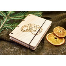 """Notepad A6 """"Camera"""" made of natural wood on rings. Notebook. Album for drawing. A diary. Sketchbook"""
