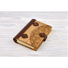 "Notebook made of genuine leather and wood ""Oriental Ornament"""