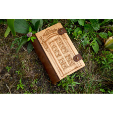 """Notebook made of genuine leather and wood """"Door to nowhere"""" with two clasps"""