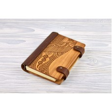 "Notebook made of genuine leather and wood ""Oriental"""