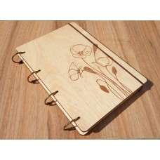 "A5 Plywood notebook ""Poppy"" with rings"