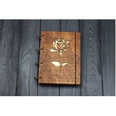 "A5 Plywood notebook ""Rose"" with rings"