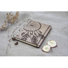 "A5 Plywood notebook ""Dreamcatcher"" with rings"
