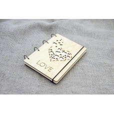"A5 Plywood notebook ""Love"" with rings"