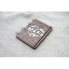 "A5 Plywood notebook ""Heart"" with rings"