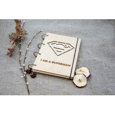 "A5 Plywood notebook ""Superman"" with rings"