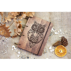 """Notepad A6 """"Owl"""" made of plywood on rings. Notebook. Album for drawing. A diary. Sketchbook"""