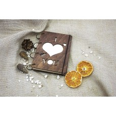 """Notepad A6 """"Heart"""" made of plywood on rings. Notebook. Album for drawing. A diary. Sketchbook"""