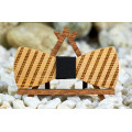"""Bow tie """"Diagonal"""" made of natural wood with engraving"""