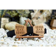 """Bow tie """"Walk-around"""" made of natural wood with engraving"""
