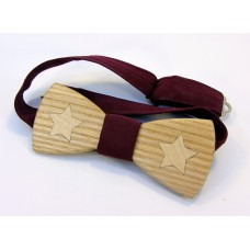 """Bow tie """"Stars"""" made of natural wood with veneer"""