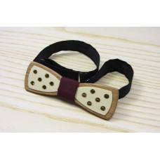 "Bow tie slim ""Golden polka dots"" made of natural wood"
