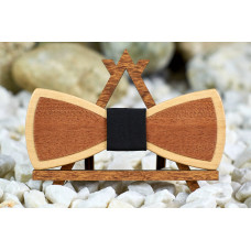 "Bow tie ""Dark petal"" made of natural wood with veneer"