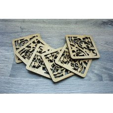 "Costers ""Stars"" set of 4 pieces of natural wood (cut) (Stands for hot cups)"