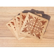 "Costers ""Ornament"" set of 4 pieces of natural wood (Stands for hot cups)"