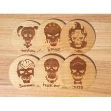 "Costers ""Suicide squad"" set of 4 pieces of natural wood (Stands for hot cups)"