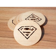 "Costers ""Superman"" set of 4 pieces of natural wood (cut) (Stands for hot cups)"