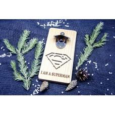 "Bottle Opener ""Superman"" made of natural wood on magnets"