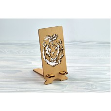 """Stand for phone """"Lion"""" from a natural wood"""