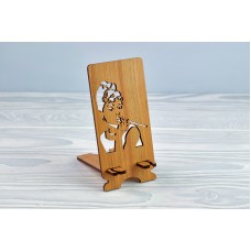 """Stand for phone """"Adrey Hepburn"""" from a natural wood"""