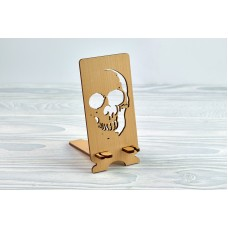 """Stand for phone """"Scull"""" from a natural wood"""
