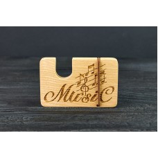 "Cardholder for bank cards ""Music""made of natural  wood"