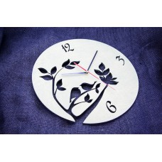 "Wall clock ""Birds love"" 30 cm in diameter."