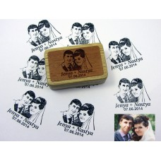 A stamp of a wedding photo on a wooden bar with an engraving