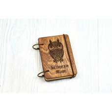 """Notebook pocket A7 """"OWL owl"""" Dark of plywood on the rings, 60 sheets"""