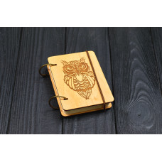 """Notebook pocket A7 """"Owl"""" Light of plywood on the rings, 60 sheets"""