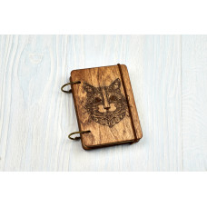 """Notebook pocket A7 """"Mikhendi's Cat"""" Dark of plywood on the rings, 60 sheets"""