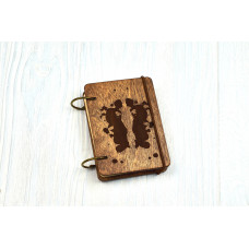 """Notebook pocket A7 """"Rorschach Spots"""" Dark of plywood on the rings, 60 sheets"""