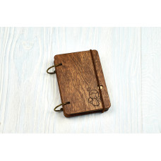 """Notebook pocket A7 """"Angel"""" Dark of plywood on the rings, 60 sheets"""