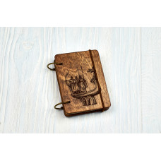 """Notebook pocket A7 """"Kiev"""" Dark of plywood on the rings, 60 sheets"""