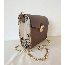 Leather Bag Wooden Bag Handmade Simple Bag Clutch Leather Shoulder Bag Leather Purse Woman Bag Minimalist Bag Brown Leather Bag Engraved Bag