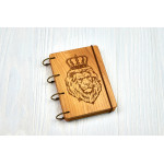 "Notepad A6 "" a lion"" made of natural wood on rings. Notebook. Album for drawing. A diary."