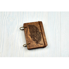 """Notebook pocket A7 """"Mehendi's feather"""" Dark of plywood on the rings, 60 sheets"""