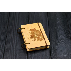 """Notebook pocket A7 """"Fish"""" Light of plywood on the rings, 60 sheets"""