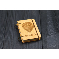 """Notebook pocket A7 """"Lion"""" Light of plywood on the rings, 60 sheets"""