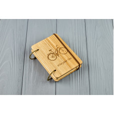 "Pocket notebook made of wood A7 on rings ""Bike"""
