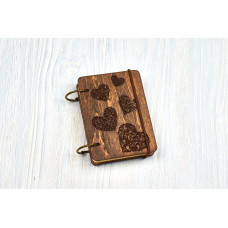 """Notebook pocket A7 """"Hearts"""" Dark of plywood on the rings, 60 sheets"""