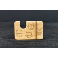 "Cardholder for bank cards ""Owls""made of natural  wood"