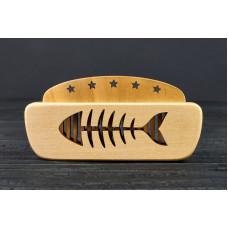 "Comb of natural wood ""Fishes"" in a mini holder for beard and hair"