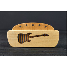 """Comb of natural wood """"Guitar"""" in a mini holder for beard and hair"""