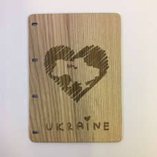 "Notepad A6 "" Ukraine "" made of natural wood on rings. Notebook. Album for drawing. A diary. Sketchbook"