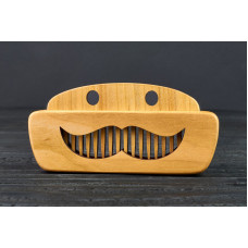 "Comb of natural wood ""Mustache"" in a mini holder for beard and hair"